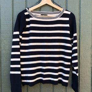 Zara navy/white crew neck knit sweater